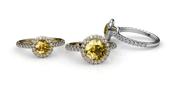 Tendresse. Bague saphir jaune entourage diamants