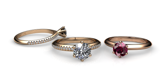 Stella. Bague solitaire or rose serti 6 griffes