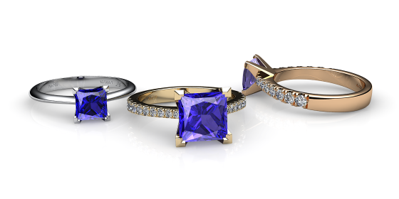 Bételgeuse. Bague solitaire tanzanite princesse