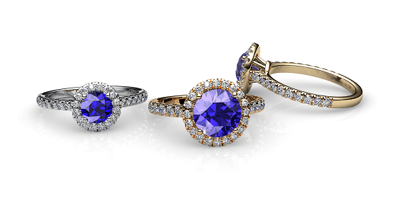 Tendresse. Bague tanzanite entourage diamants