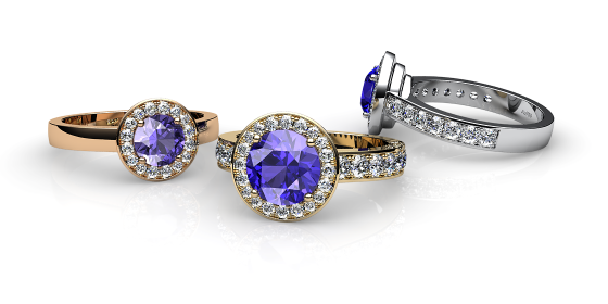 Violette. Bague tanzanite et pavage diamants