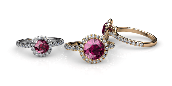 Tendresse. Bague tourmaline rubellite entourage diamants