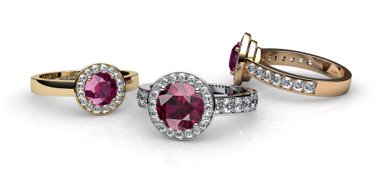 Violette. Bague tourmaline rubellite et pavage diamants