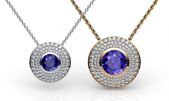 Noor. Pendentif tanzanite pavage diamants