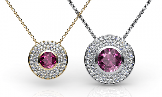 Noor. Pendentif tourmaline rose pavage diamants