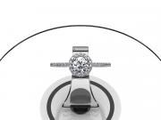 Or blanc, diamant rond de 0.45 carat, pavage diamants.