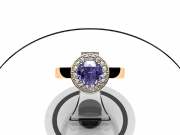 Or rose, diamants et tanzanite couleur lavande.