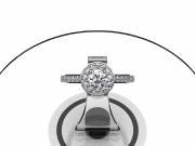 Platine, diamant rond de 0.45 carat, pavage diamants.