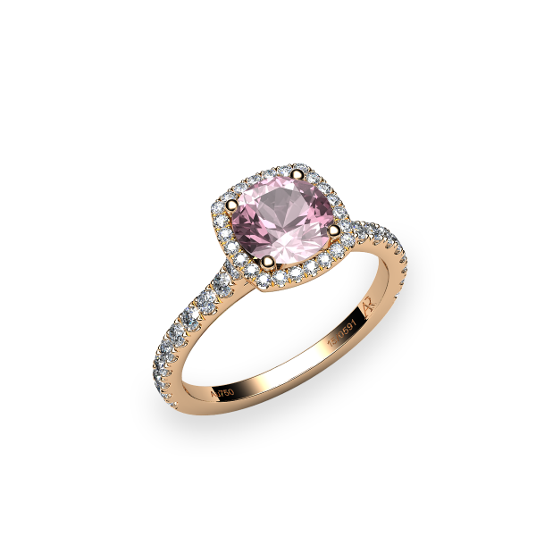 Grâce. Bague morganite entourage diamants